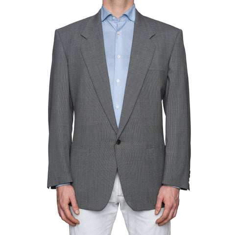 SARTORIA CASTANGIA Gray Micro Patterned Wool 1 Button Jacket EU 52 NEW US 42