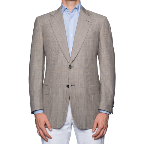 SARTORIA CASTANGIA Gray Plaid Wool-Silk Jacket EU 50 NEW US 40