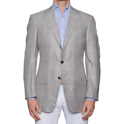 SARTORIA CASTANGIA Gray Prince of Wales Bamboo Jacket EU 50 NEW US 40