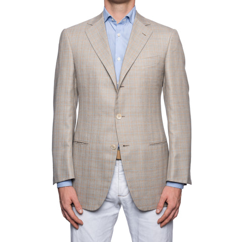 SARTORIA CASTANGIA Gray Prince of Wales Cashmere-Silk Jacket EU 50 NEW US 40
