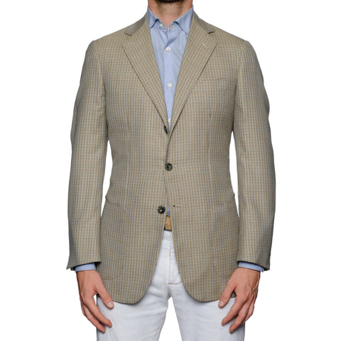 SARTORIA CASTANGIA Beige Plaid Silk-Wool Super 140's Jacket NEW