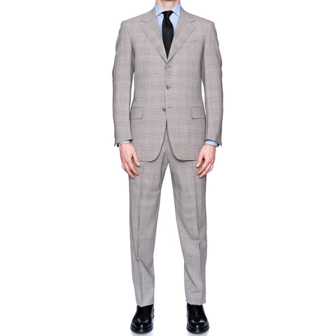 SARTORIA CASTANGIA Gray Prince of Wales Wool Super 130's Suit EU 48 NEW US 38