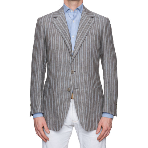 SARTORIA CASTANGIA Gray Striped Linen Summer-Spring Jacket EU 50 NEW US 40