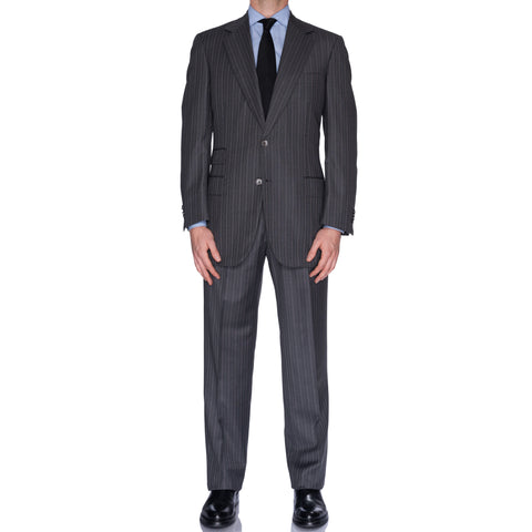 SARTORIA CASTANGIA Gray Striped Silk-Wool Super 140's Suit EU 52 NEW US 42