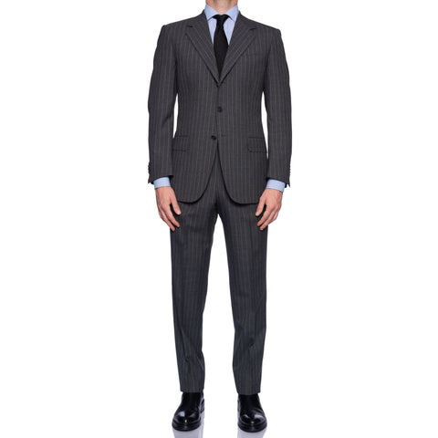 SARTORIA CASTANGIA Handmade Gray Striped Wool Business Suit NEW