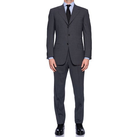 SARTORIA CASTANGIA Handmade Gray Striped Wool Super 110's Business Suit NEW