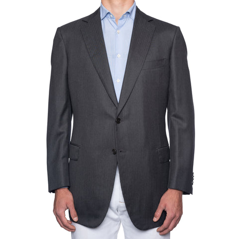 SARTORIA CASTANGIA Gray Striped Wool Super 150's Jacket w. Silk Lining 56 NEW 46