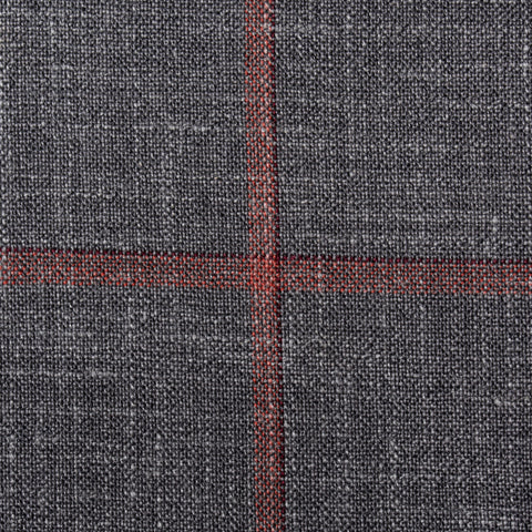 SARTORIA CASTANGIA Gray Windowpane Wool-Silk-Linen Silk Lined Jacket 52 NEW 42