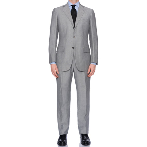 SARTORIA CASTANGIA Gray Wool-Linen Suit EU 50 NEW US 40