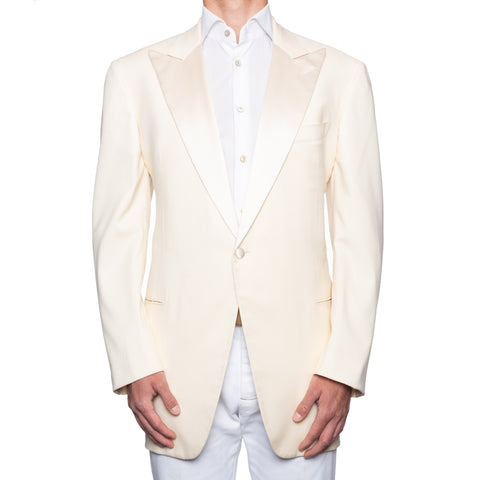 SARTORIA CASTANGIA Handmade Cream Wool Dinner Jacket EU 58 NEW US 48