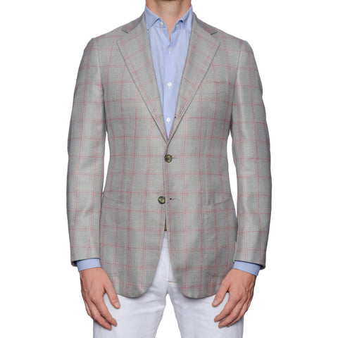 SARTORIA CASTANGIA Handmade Gray Plaid Wool-Silk Jacket EU 48 NEW US 38