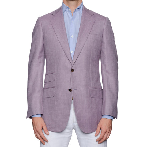 SARTORIA CASTANGIA Handmade Purple Wool-Silk-Linen Jacket EU 50 NEW US 40