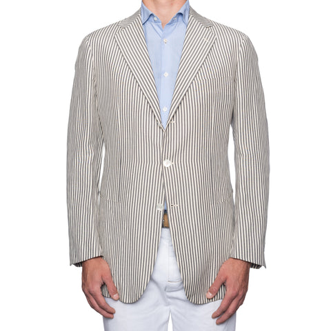 SARTORIA CASTANGIA Ivory-Gray Striped Wool-Linen Jacket EU 54 NEW US 44