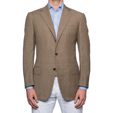 SARTORIA CASTANGIA Beige Plaid Linen-Wool Sport Coat Jacket EU 50 NEW US 40