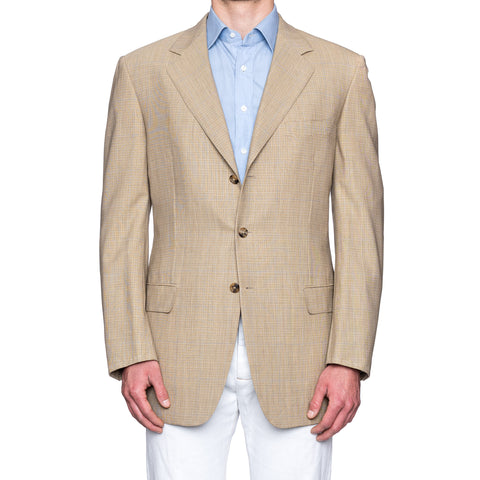 SARTORIA CASTANGIA Beige Plaid Wool Super 120's Jacket EU 54 NEW US 44 Long