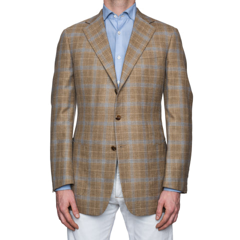 SARTORIA CASTANGIA Khaki Prince of Wales Wool-Silk-Linen Jacket 52 NEW US 42