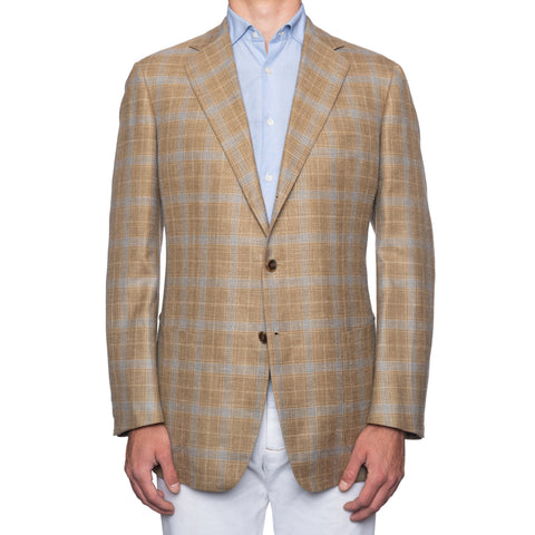 SARTORIA CASTANGIA Beige Prince of Wales Wool-Silk-Linen Jacket 56 NEW US 46