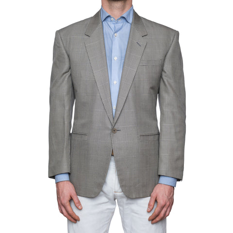 SARTORIA CASTANGIA Light Gray Geometric Silk 1 Button Jacket EU 48 NEW US 38