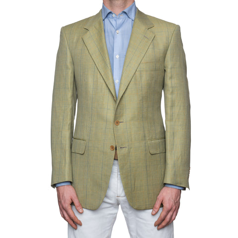 SARTORIA CASTANGIA Light Olive Prince of Wales Wool Jacket EU 52 NEW US 42