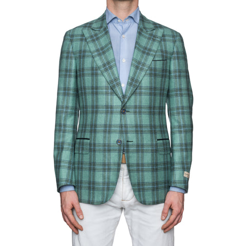 SARTORIA CASTANGIA Mint Green Plaid Silk-Cashmere Silk Lined Jacket 50 NEW 40