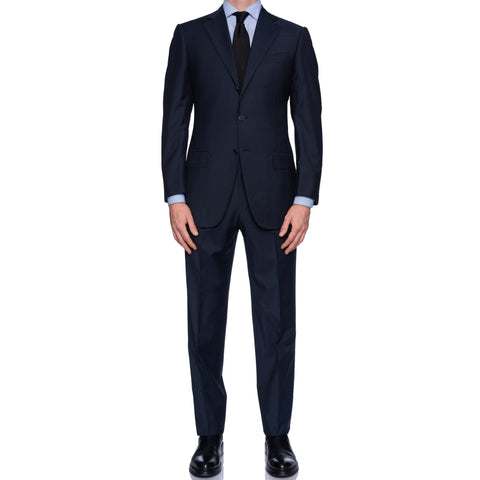 SARTORIA CASTANGIA Hand Made Blue Micro Nailhead Wool Super 130's Suit NEW
