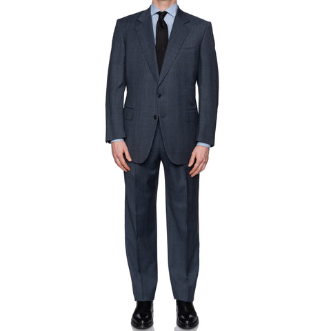 SARTORIA CASTANGIA Handmade Blue Prince of Wales Wool Suit EU 52 NEW US 42