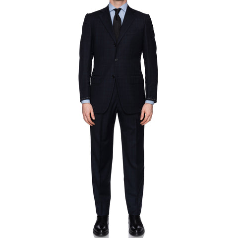SARTORIA CASTANGIA Handmade Navy Blue Plaid Wool Suit EU 48 NEW US 38