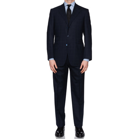 SARTORIA CASTANGIA Navy Blue Plaid Wool Super 100's Suit EU 50 NEW US 40