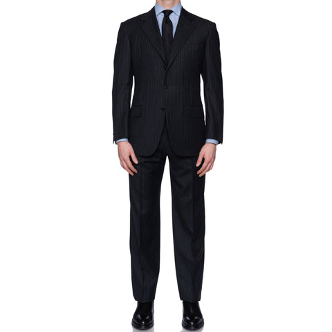 SARTORIA CASTANGIA Navy Blue Striped Merino Wool Super 120's Suit 50 NEW US 40