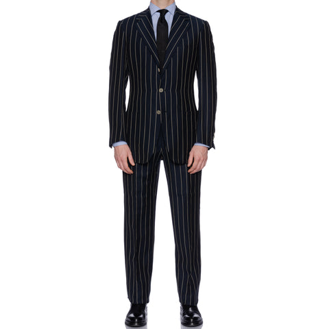 SARTORIA CASTANGIA Navy Blue Striped Wool-Linen Suit NEW