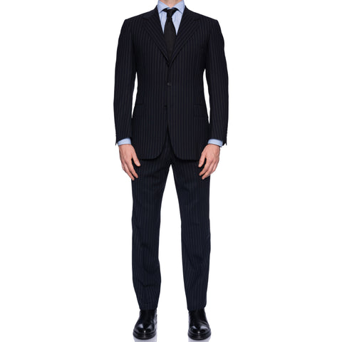 SARTORIA CASTANGIA Navy Blue Striped Wool Super 110's Suit EU 50 NEW US 40