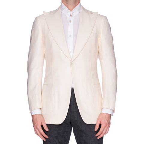SARTORIA CASTANGIA Ivory Cashmere-Silk 1 Button Peak Lapel Jacket 48 NEW US 38