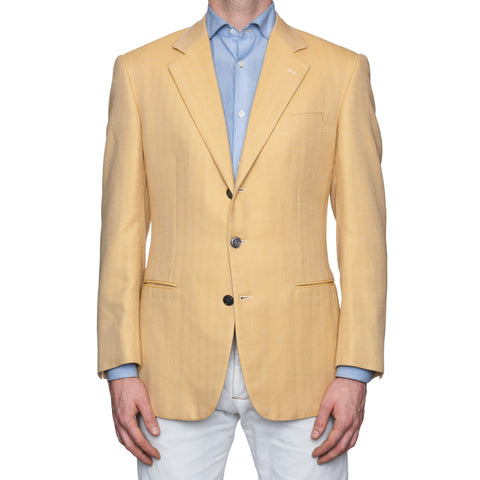 SARTORIA CASTANGIA Tan Herringbone Cotton Sport Coat Jacket EU 50 NEW US 40