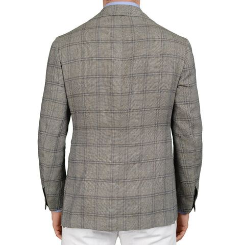 SARTORIA CHIAIA Bespoke Bluish Gray Plaid Wool-Silk-Linen Jacket EU 48 NEW US 38