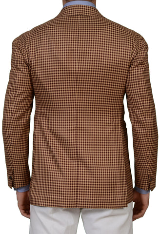 SARTORIA CHIAIA Bespoke Brown Scabal Silk DB Blazer Jacket EU 48 NEW US 38