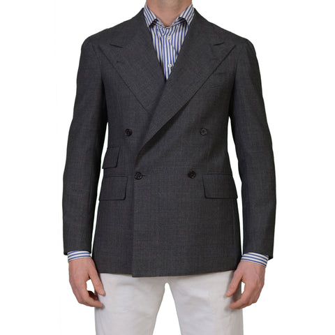 SARTORIA CHIAIA Bespoke Gray Drapers Wool DB Blazer Jacket EU 48 NEW US 38