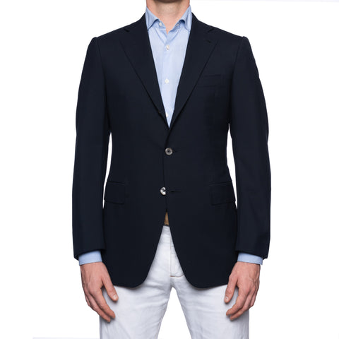 SARTORIA CHIAIA Handmade Navy Blue Wool Blazer Jacket EU 48 NEW US 38
