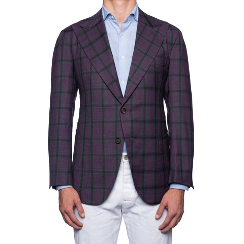 SARTORIA CHIAIA Bespoke Handmade Purple Plaid Wool-Silk Jacket EU 52 NEW US 42