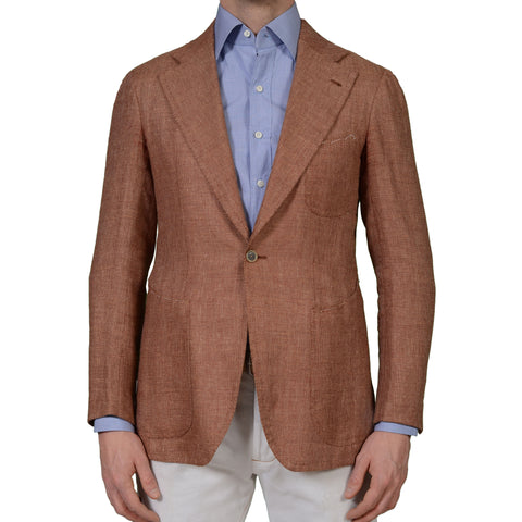 SARTORIA CHIAIA Bespoke Rust VBC Silk-Linen 1 Button Blazer Jacket 48 NEW US 38