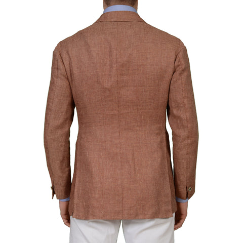 SARTORIA CHIAIA Bespoke Rust VBC Silk-Linen 1 Button Blazer Jacket EU 48 NEW US 38