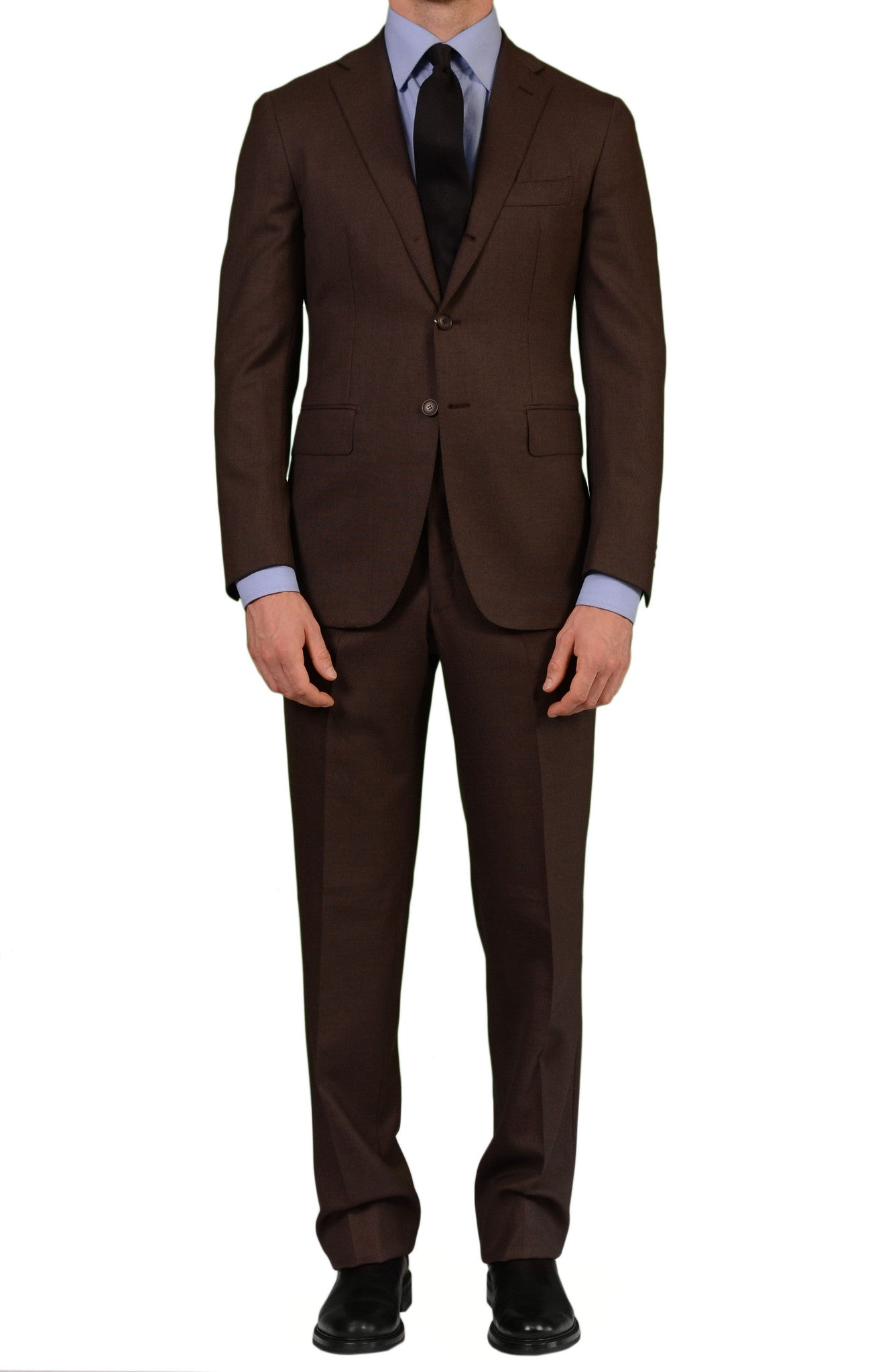 7e83063e8cde SARTORIA PARTENOPEA Hand Made Napoli Solid Brown Wool Suit NEW ...