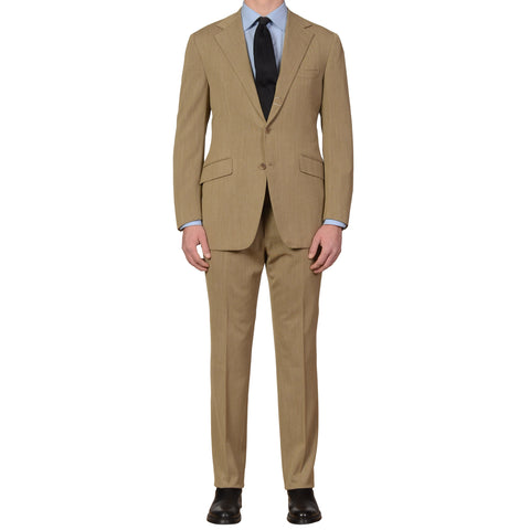 SARTORIA PARTENOPEA Hand Made Light Olive Twill Wool Super 110'S Suit 52 NEW 42