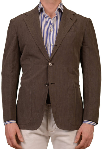 SARTORIO Napoli Brown Striped Linen Cotton Unconstructed Jacket EU 50 NEW US 40
