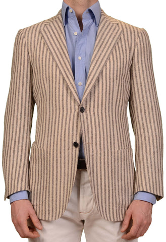 SARTORIO Napoli by KITON Beige Striped Wool Alpaca Flannel Jacket 50 NEW US 40