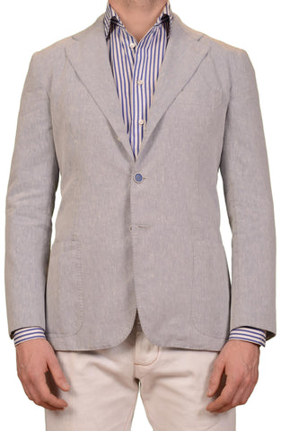 SARTORIO Napoli by KITON Light Blue Linen Polyester Jacket EU 48 NEW US 38