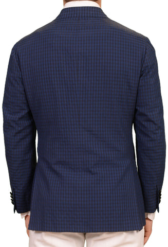 SARTORIO Napoli by KITON Blue Plaid Cotton Silk DB Dinner Jacket EU 50 NEW US 40