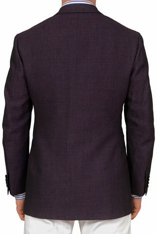 SARTORIO Napoli by KITON Burgundy Wool Linen Velvet Tuxedo Jacket 50 NEW US 40