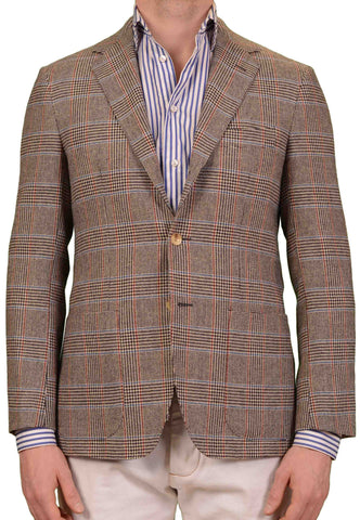 SARTORIO Napoli by KITON Gray POW Wool Flannel Slim Jacket EU 46 NEW US 36