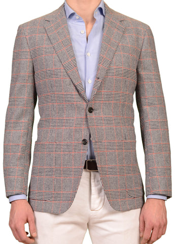 SARTORIO Napoli by KITON Gray Prince of Wales Wool Flannel Slim Jacket 52 NEW 42