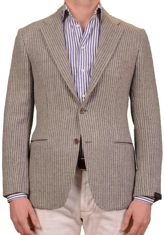 SARTORIO Napoli by KITON Gray Striped Knit Wool Slim Jacket EU 50 NEW US 40